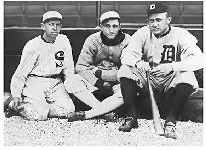 Photo of Lena Blackburne (center) with Eddie Collins (left) and Ty Cobb (right)